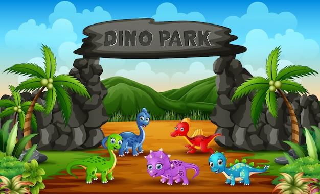 Dinosauri differenti del bambino nell'illustrazione del parco di dino