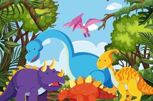 Dinosauri nella scena della giungla