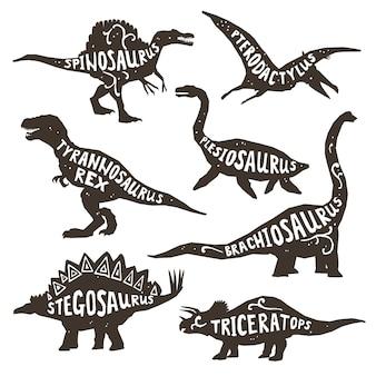Dinosauri silhouettes con lettering