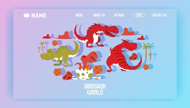 Dinosauri t-rex del fumetto dell'illustrazione della pagina di atterraggio del manifesto del mondo dei dinosauri