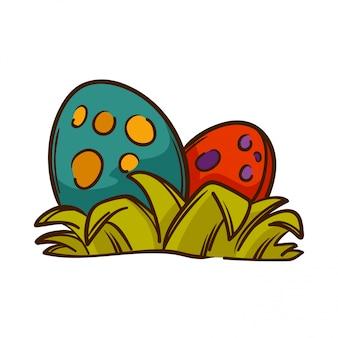 Dinosauri uova con erba.