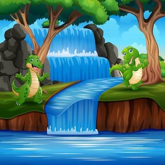 Dinosauri verdi che giocano in natura