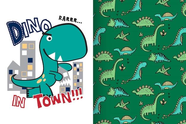 Dinosauro carino disegnato a mano