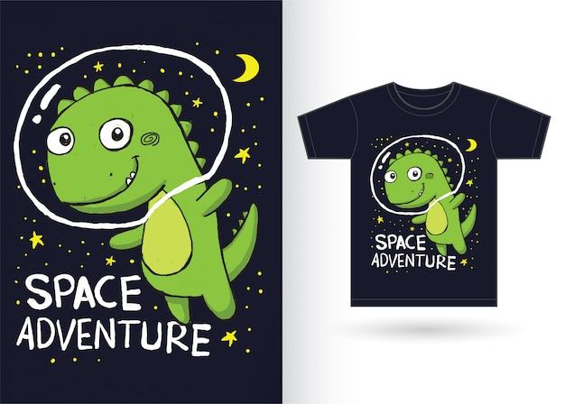 Dinosauro disegnato a mano sveglio per la maglietta