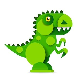 Dinosauro simpatico cartone animato su sfondo bianco