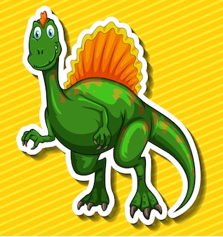 Dinosauro verde su giallo