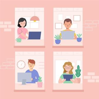 Dipendenti che lavorano dall'illustrazione domestica