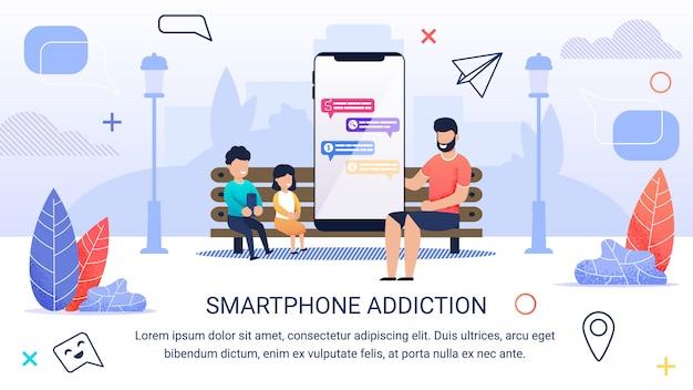 Dipendenza da smartphone scritta volantino informativo.