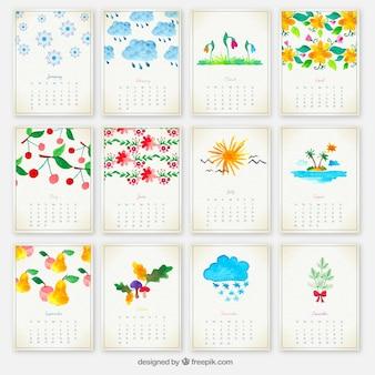 Dipinte a mano calendario annuale