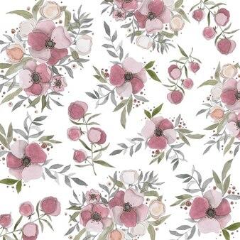 Dipinte a mano fiori acquerello di nozze disegni
