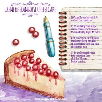 Dipinte a mano ricetta cheesecake