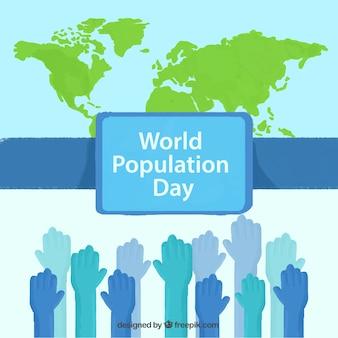 Dipinti a mano le mani con sfondo mappa del giorno popolazione