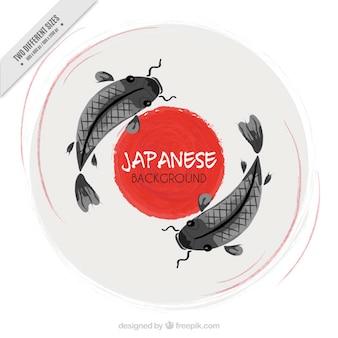 Dipinti a mano pesci giapponesi sfondo