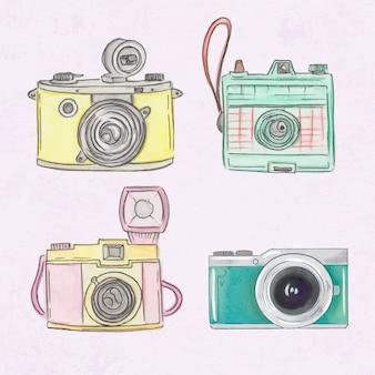 Dipinto a mano carino polaroid telecamere insieme
