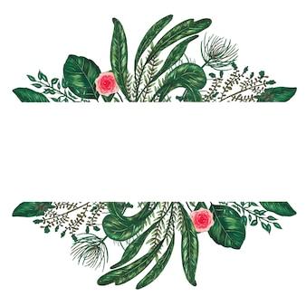 Dipinto a mano con pennarelli cornice floreale con ramoscello, ramo e foglie astratte verdi