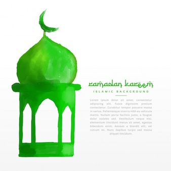 Dipinto a mano disegno moschea verde