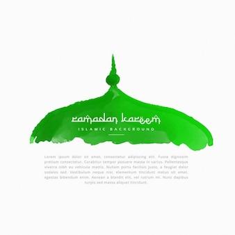 Dipinto a mano top moschea di colore verde