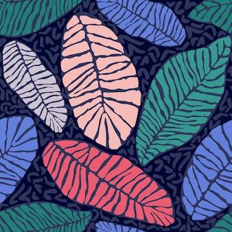 Dipinto di foglie esotiche tropicali colori astratti in stile cartone animato. reticolo senza giunte della carta da parati di vettore su una priorità bassa blu scuro