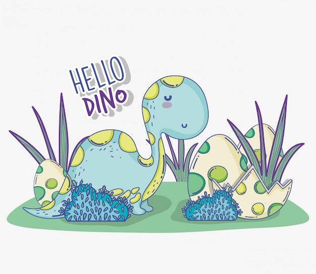 Diplodocus sveglio con la fauna selvatica delle uova di dino