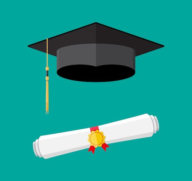 Diploma cartaceo con timbro e cappello di laurea