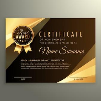Diploma certificato d'oro con il simbolo premio