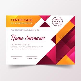 Diploma di apprezzamento con forme geometriche