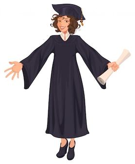 Diploma di scuola superiore giovane donna in mantello nero detiene il rotolo