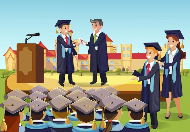 Diploma institute in front group fellow students