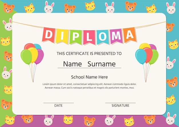Diploma per bambini, certificato.