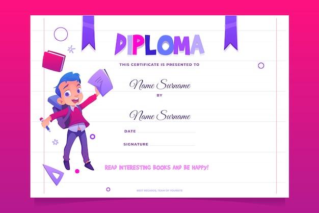 Diploma scolastico bambino felice con libro
