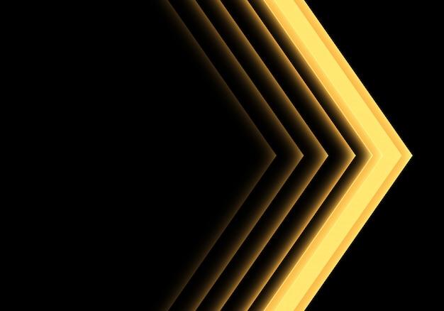 Direzione al neon chiara della freccia gialla su fondo nero.