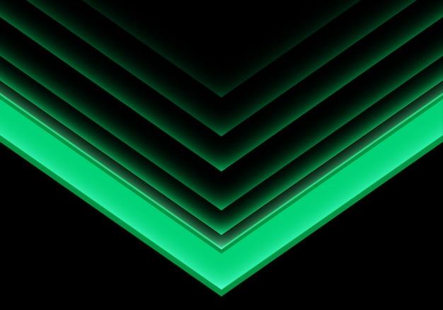 Direzione al neon chiara della freccia verde su fondo nero.