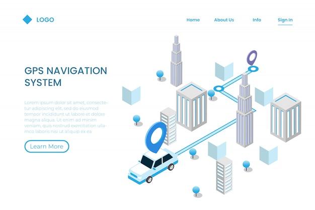 Direzione app mobile per tracciamento in stile isometrico, navigazione
