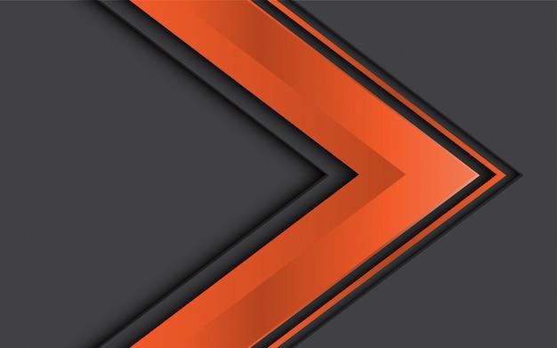 Direzione arancione astratta della freccia sul disegno grigio