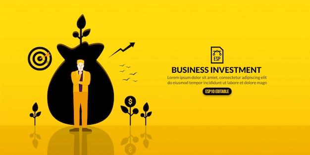 Direzione dell'uomo d'affari che sta davanti al foro della borsa dei soldi, concetto di investimento