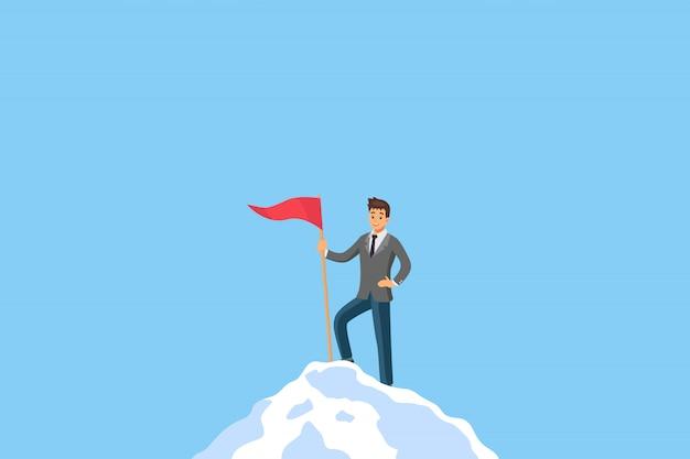 Direzione dell'uomo d'affari di successo che sta sulla cima della montagna