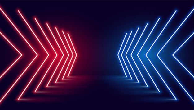 Direzione della freccia della luce al neon in prospettiva