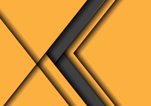 Direzione della freccia grigia su sfondo giallo con spazio vuoto.