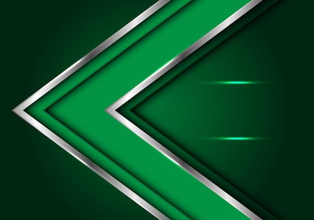 Direzione della freccia linea d'argento verde con sfondo spazio vuoto.