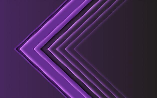 Direzione della freccia luce viola astratta su sfondo futuristico moderno scuro.