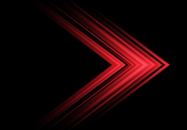 Direzione della velocità della freccia della luce rossa su sfondo nero.