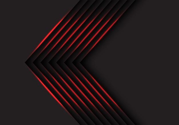 Direzione delle frecce della luce rossa su fondo nero.