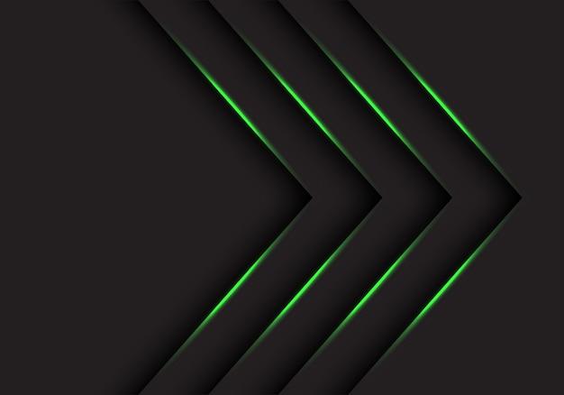 Direzione delle frecce della luce verde su fondo futuristico nero.