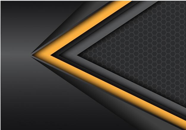 Direzione di velocità nera gialla su metallico scuro con il fondo della maglia di esagono.