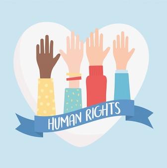 Diritti umani, mani sollevate amore illustrazione vettoriale nastro cuore