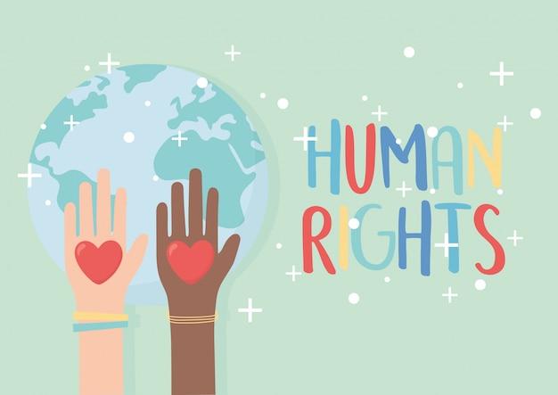 Diritti umani, mani sollevate diversità cuori illustrazione vettoriale mondo