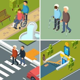 Disabilità in città. immagini isometriche di concetto urbano delle attrezzature delle stampelle dei camminatori delle sedie a rotelle degli escursionisti delle sedie a rotelle degli assistenti sanitari