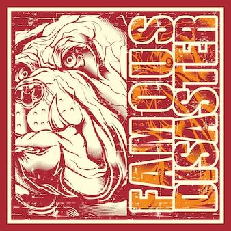 Disastro famoso del bulldog e del testo del cranio dell'annata di stile di grunge