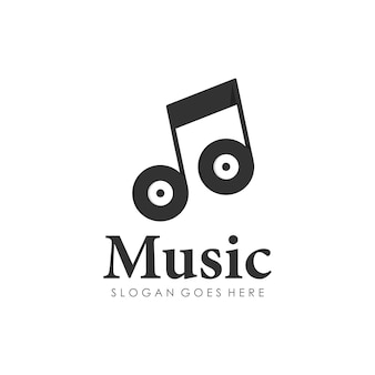 Disc music playing note melody logo design