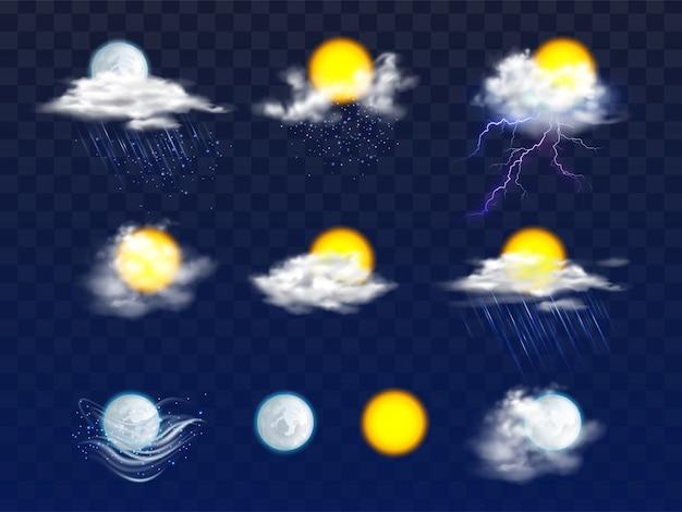 Dischi di sole e luna chiari e in nuvole con icone di pioggia e neve